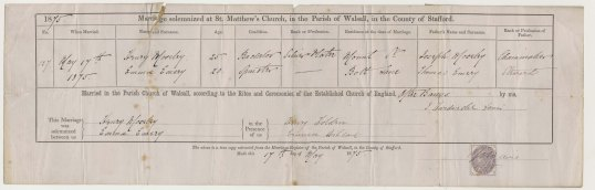 The marriage certificate of Emma Emery and Henry Moseley.