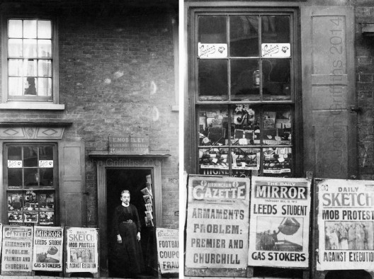 Emma outside 2 Caldmore Road on Thursday 13th December 1913 and a close-up of the shop window.