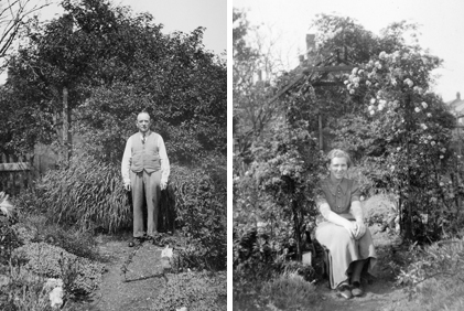 My grandfather, William Moseley and my mother in the beautiful gardens at the rear of 226 Sandwell Street