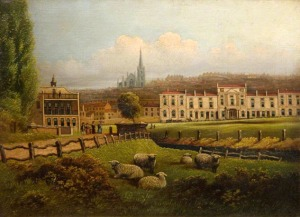 The Racecourse showing the grandstand and the houses on Bradford Street by an unknown artist.