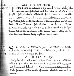 The first announcement of Walsall Races in 1755 which they were being run at least 22 years earlier than first thought.