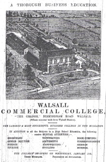 In 1900 Sycamore House was home to the Walsall Commercial College which I think later moved to Lichfield Road opposite the Arboretum.