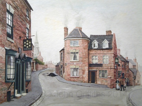 The White Swan and on the left, The Seven Stars. The road to the left is Bath Street with Dudley Street on the right.
