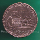 The bronze Subscription Token for the grandstand in 1809. The reverse side is badly pitted and the date, in roman numerals can just read.