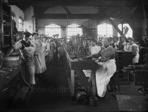 The press shop staffed by nearly all women. I hope that lad at the front was thick skinned!