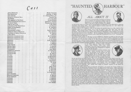 The cast list and production notes.