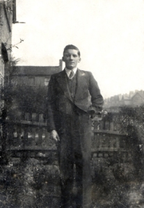 Edward standing in the front garden of his parents house at 230 West Bromwich Road.