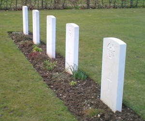The graves of all five crewman who died together 70 years ago this coming July.