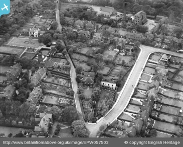 The Highgate Road area in 1938. Hopelands is the white building towards the top left. Towards the top right are the premises of Highgate Brewery.