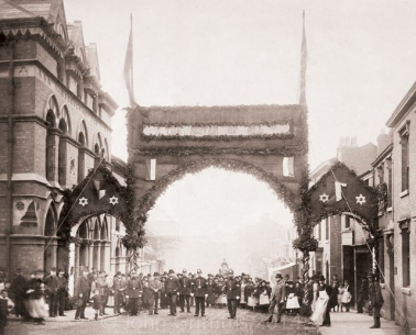The arch on Upper Bridge Street looking towards Lichfield Street. Goodall Street can be seen on the left of the picture.