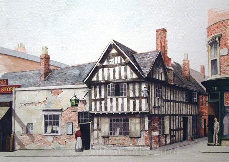 A watercolour painting of the original Woolpack Inn c.1890.