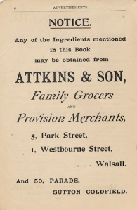 An advertisement for Attkins & Son from The Walsall Ladies Book of Recipes published in 1905.