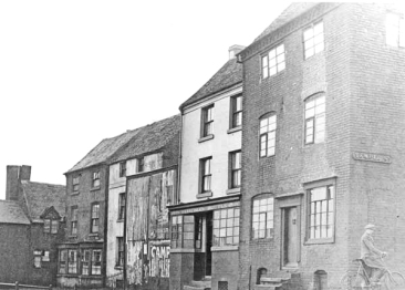Far left, the Barley Mow with the Leathern Bottle in the middle.