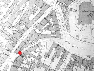 The red spot marks the approximate site of the fight. Disappointingly, this 1885 OS map does not indicate where the Old Church pub was on Church Street.