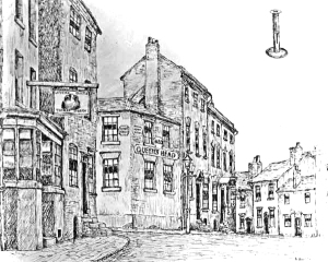 This sketch by Billy Meikle shows two of the three pubs mentioned in this post. The Leathern Bottle on the left with the Old Queen's Head on the corner of Temple Street and Church Hill.