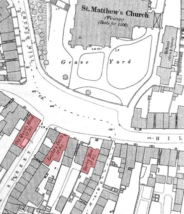 This 1885 O.S. map shows the pubs on Church Hill and how close they were to each other.