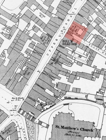 The area the photographs were taken in 2006 is highlighted in red. The New Royal Exchange opposite is now The Lyndon House Hotel part of which was the first Walsall factory of the electrical manufacturer,  J. A. Crabtree & Co.