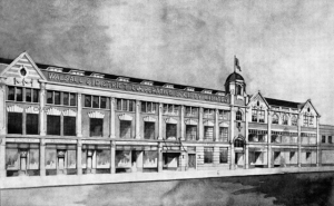 An architects illustration of the renovated Upper Bridge Street premises completed in 1936.