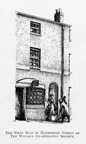 A drawing by George Willott, Principal of Walsall Art School showing the first Co-op premises in Hatherton Street.