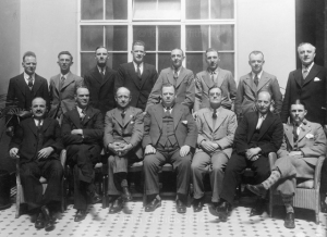 The branch managers from Walsall & District Co-op on a visit to the C.W.S. factories at Lowestoft, Suffolk on the 16th June 1936. Only one of these managers can be identified and that is George Wimlett, the Grocery Dept. manager, the big man seated in the middle.