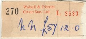 The familiar stub from the Walsall & District Co-op.