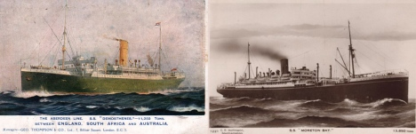 The two ships that took the Mayo, Turpin, Corns and Glassby families to Australia.