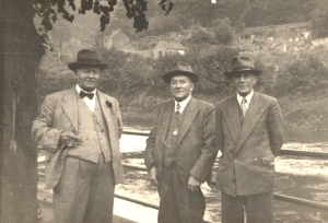The three Billies, butcher Billy Miller with his usual large cigar, my granddad Billy Moseley and grocer Billy Craig.