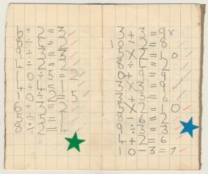 One of my 'sums' book from a similar period. Cannot remember the significance of the blue and green stars!