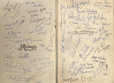 The Bible signed by pupils which include:- Ron Smith, Diana Fellows, Graham Speed, Joan Middleton, Lynn Cook, John Morris, Robert Chaplin, Lynne Spiers, Clive Wiggen, John Witherford, Christine Walker, Frank Woolley, Vic Manley, Pauline Holland, David Casey, Colin Simpson, Dorothy Whitehouse, Keith Turton, Michael Kendrick, Sue Airston, Ann Morris, Graham Crook, Graham Worrall, Christine Pountney, Margaret Phiilips, Michael Butler, Trevor Webb and Mrs Mopp a nickname for one of the girls but I can't remember who.