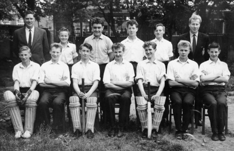 Cricket team in 1962. Back row, l-r, Mr. Davies, John Beeley, John Tuck, Graham Worrall, Ron Smith and Mr. Dawson. Seated, l-r, David Clifft, Keith Turton, John Allen, Ken Tittley, Mike Smith, Vic Manley and Robert Bradley. Only the stars of the show were allowed on these photographs, the humble scorer (me) was deemed unfit to be shown to the public!