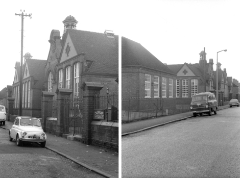 Left, the entrance on Tong Street to the boys school. The picture on the right shows the view in the opposite direction towards Lincoln Road. The building in the near left foreground was the classroom for Domestci Science.